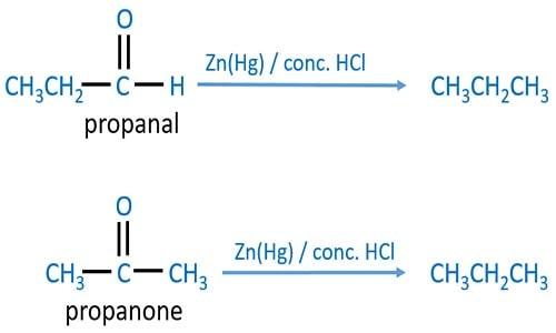 Clemmensen Reduction of aldehydes and ketones by Zn(Hg), HCl